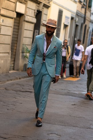 How to Wear a Mint Suit: Teaming a mint suit and a white long sleeve shirt is a surefire way to inject your day-to-day styling arsenal with some rugged elegance. Let your outfit coordination skills really shine by finishing your ensemble with a pair of black leather tassel loafers.
