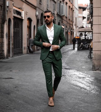 How to wear: dark green suit, white long sleeve shirt, brown suede tassel loafers, dark brown leather belt