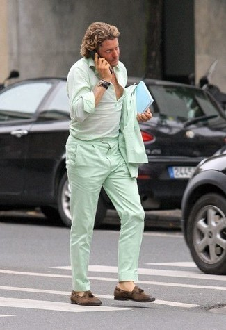 Men's Looks & Outfits: What To Wear In 2020: This is hard proof that a mint suit and a mint long sleeve shirt look awesome when teamed together in a classy outfit for today's gent. If you're hesitant about how to finish off, a pair of brown suede tassel loafers is a good choice.