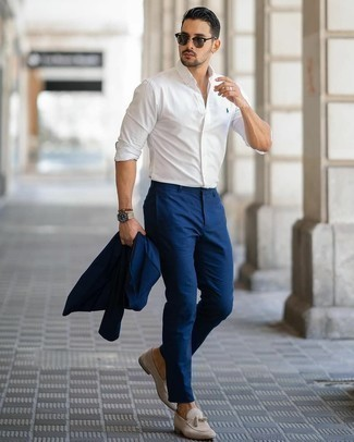 Tan Leather Watch Outfits For Men: Swing into something practical yet current in a navy suit and a tan leather watch. Why not take a classic approach with footwear and complement your look with beige suede tassel loafers?