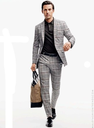How to wear: grey plaid suit, black polo, black leather double monks, tan canvas tote bag