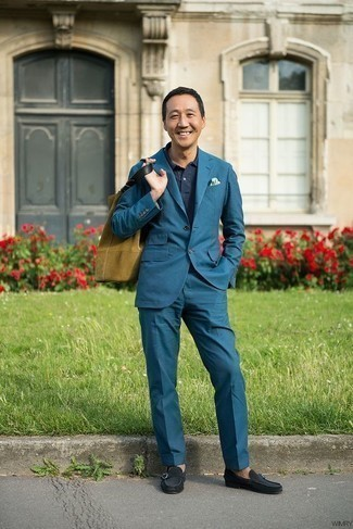 How to Wear a Teal Suit: A teal suit and a navy polo are the ideal way to introduce a touch of masculine elegance into your day-to-day casual repertoire. Rounding off with a pair of navy suede loafers is an effortless way to add some extra depth to your outfit.