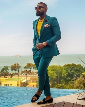 How to Wear a Teal Suit: When the dress code calls for an effortlessly polished getup, marry a teal suit with a mustard polo. On the fence about how to finish off your outfit? Round off with black embroidered velvet loafers to step up the fashion factor.
