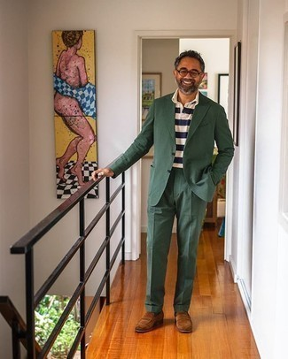 Dark Green Socks Outfits For Men: A dark green suit and dark green socks are the ideal way to inject some cool into your current casual lineup. Power up your outfit with brown suede loafers.