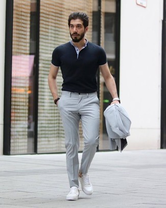 How to wear: grey suit, black polo, white leather low top sneakers, white leather watch
