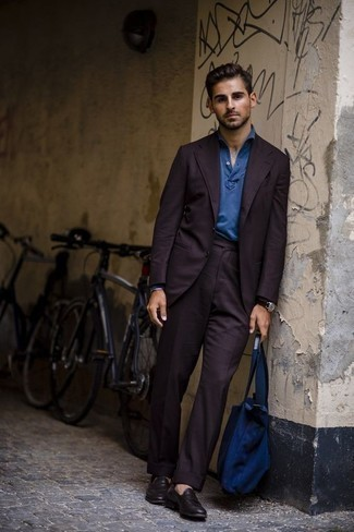 How to Wear a Violet Suit: For an ensemble that's polished and envy-worthy, dress in a violet suit and a blue polo neck sweater. To give your overall outfit a more laid-back vibe, why not introduce a pair of dark purple leather loafers to the mix?