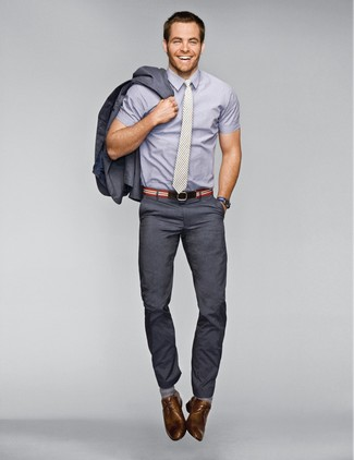 How to wear: charcoal suit, grey short sleeve shirt, brown leather derby shoes, grey vertical striped tie