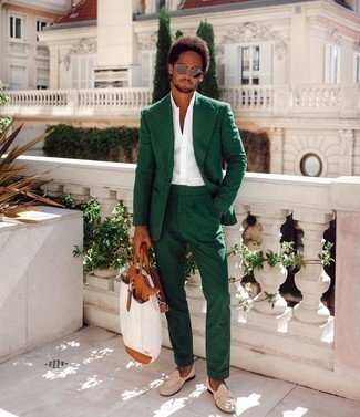 White Short Sleeve Shirt Outfits For Men: Teaming a white short sleeve shirt and a dark green suit is a guaranteed way to breathe style into your day-to-day styling routine. Finishing with a pair of beige suede loafers is an effortless way to introduce a bit of classiness to your outfit.