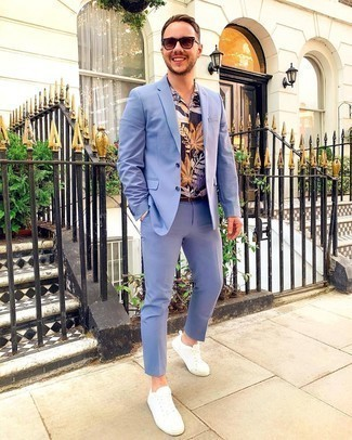 Dark Brown Leather Belt Outfits For Men: For a laid-back ensemble, try teaming a light blue suit with a dark brown leather belt — these two pieces play perfectly well together. A pair of white canvas low top sneakers is a good idea to complete this look.