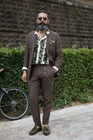 Dark Brown Bracelet Outfits For Men: A brown vertical striped suit and a dark brown bracelet will allow you to demonstrate your fashionable self. If you want to feel a bit dressier now, add a pair of olive suede tassel loafers to the equation.