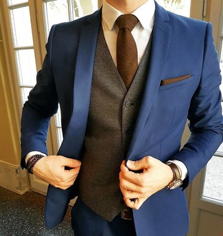 Men's Navy Suit, Navy Suit, Brown Waistcoat, White Dress Shirt ...