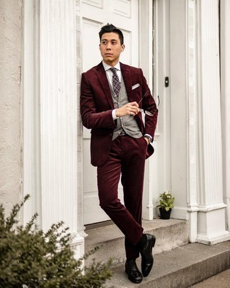 Dark Purple Print Tie Outfits For Men: Pair a burgundy corduroy suit with a dark purple print tie if you're going for a proper, trendy outfit. Feeling inventive today? Mix things up with black leather oxford shoes.