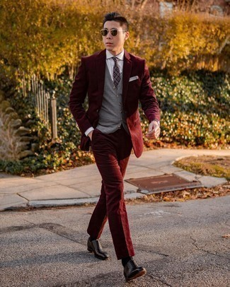 Dark Purple Print Tie Outfits For Men: Wear a burgundy corduroy suit and a dark purple print tie for a really sharp outfit. Bring a more casual spin to by rounding off with black leather oxford shoes.