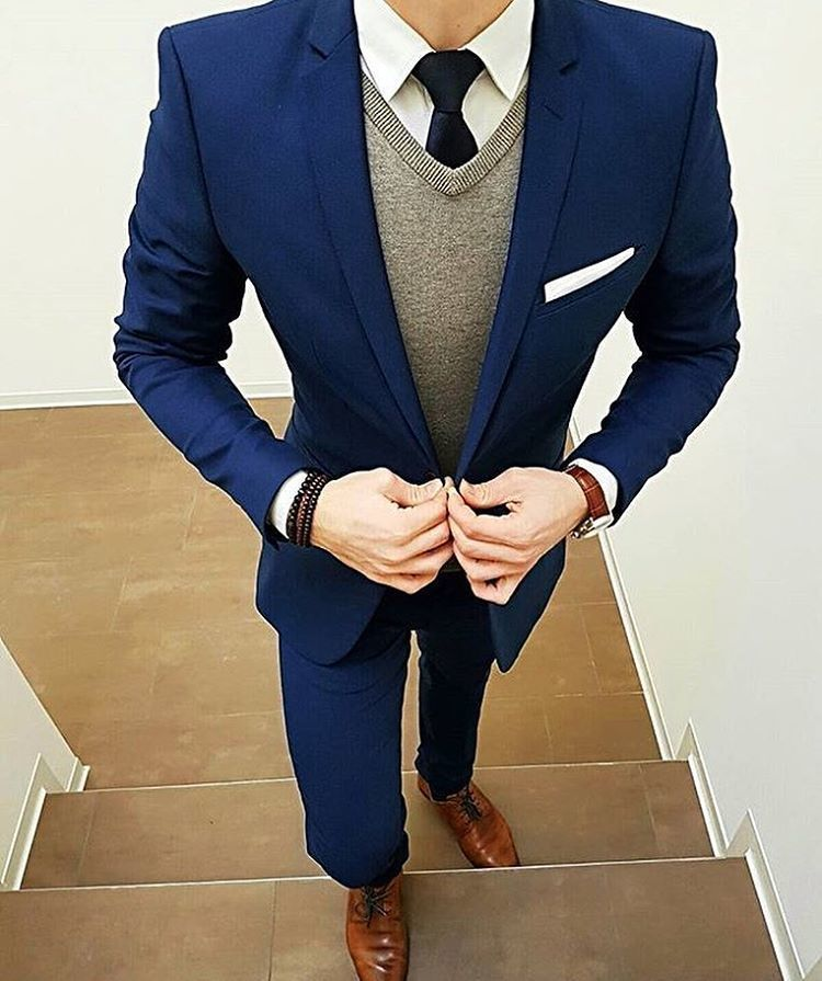 Men's Navy Suit, Grey Sweater Vest, White Dress Shirt, Brown ...