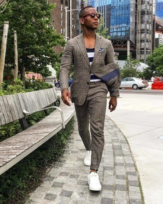 Bracelet Outfits For Men: A brown plaid suit looks so cool and casual when teamed with a bracelet. Complete your outfit with a pair of white canvas low top sneakers et voila, your look is complete.