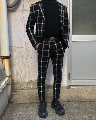 White and Black Check Suit Outfits: Team a white and black check suit with a black turtleneck and you'll achieve a proper and classy outfit. A pair of black suede athletic shoes can immediately dial down a smart ensemble.