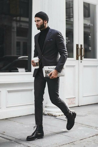 How to wear: charcoal plaid suit, black turtleneck, black leather casual boots, black beanie