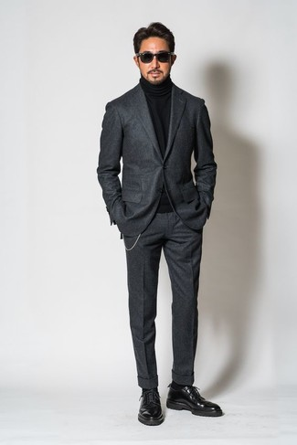 cdf0676d3f6d How to wear: charcoal wool suit, black turtleneck, black leather derby  shoes,