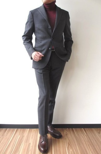 Charcoal Suit Outfits: One of the smartest ways to style such a timeless menswear piece as a charcoal suit is to team it with a burgundy turtleneck. A great pair of dark brown leather derby shoes pulls this ensemble together.