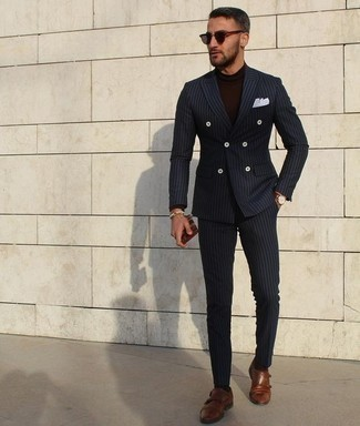 How to Wear a Dark Brown Turtleneck For Men: Go for a pared down yet on-trend option by opting for a dark brown turtleneck and a navy vertical striped suit. To give your overall ensemble a more sophisticated spin, why not complement this getup with brown leather double monks?