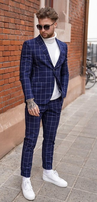 How to wear: navy check suit, white knit turtleneck, white leather low top sneakers, black sunglasses