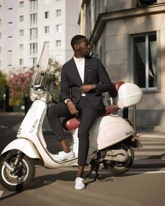 Black Suit with Low Top Sneakers Outfits: This refined combo of a black suit and a white turtleneck will allow you to assert your expert styling. Introduce low top sneakers to this outfit to make the ensemble more functional.