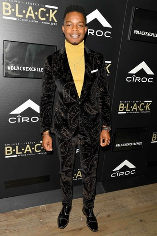 How to wear: black velvet suit, yellow turtleneck, black leather oxford shoes, black leather watch