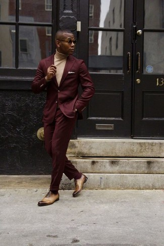 How to Wear a Burgundy Suit In Spring: Make no doubt, you'll look sleek and dapper in a burgundy suit and a beige turtleneck. Take this look down a whole other path with tan leather oxford shoes. Keep this look ready to go when spring arrives, and we guarantee you'll save time brainstorming for what to wear on more than one morning.