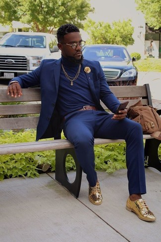 Men\u0027s Navy Suit, Navy Turtleneck, Gold Leather Tassel