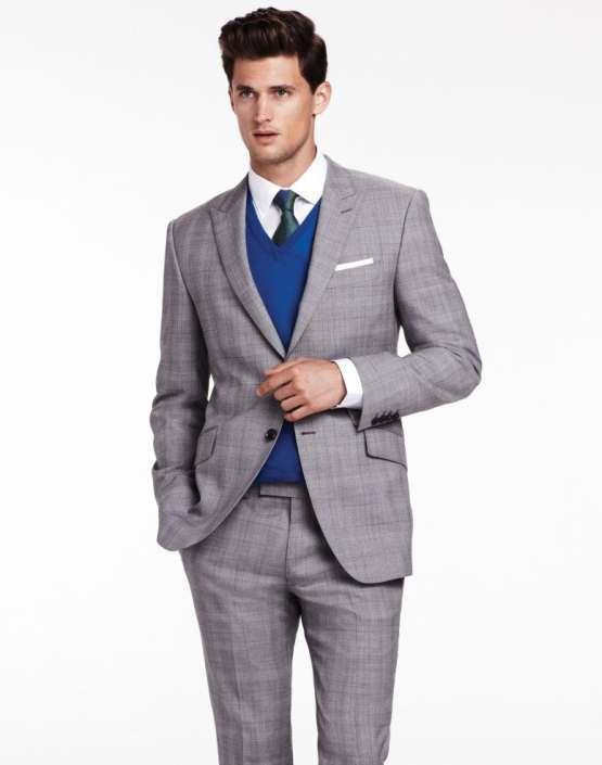 Men 39 s grey plaid suit blue v neck sweater men 39 s fashion for Blue suit grey shirt