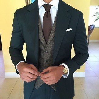 How to wear: teal suit, dark brown wool waistcoat, white dress shirt, dark brown knit tie