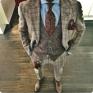 How to wear: brown plaid wool suit, dark brown wool waistcoat, light blue dress shirt, brown leather oxford shoes