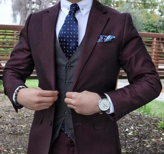 Nail that dapper look with a dark purple suit and a navy polka dot pocket square. These picks will keep you warm and stylish in in-between weather.
