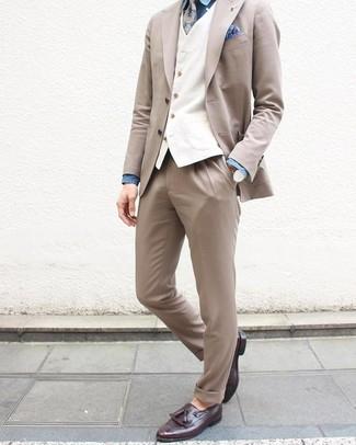 How to wear: beige suit, white waistcoat, blue chambray dress shirt, dark purple leather tassel loafers