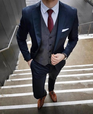How to wear: navy suit, charcoal waistcoat, white dress shirt, brown leather derby shoes