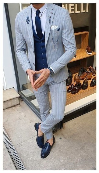 Navy Leather Watch Outfits For Men: The go-to for casual style? A light blue vertical striped suit with a navy leather watch. Infuse your look with a sense of class by rocking a pair of navy leather tassel loafers.