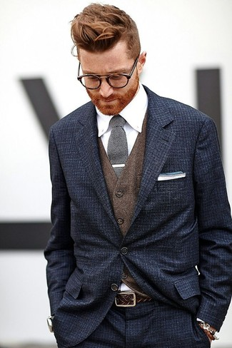 Flannel Wool Button Front Vest Brown