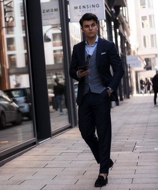 Navy Leather Watch Outfits For Men: Wear a navy suit with a navy leather watch for a no-nonsense menswear style that's also pulled together. Our favorite of a variety of ways to round off this getup is a pair of black suede loafers.