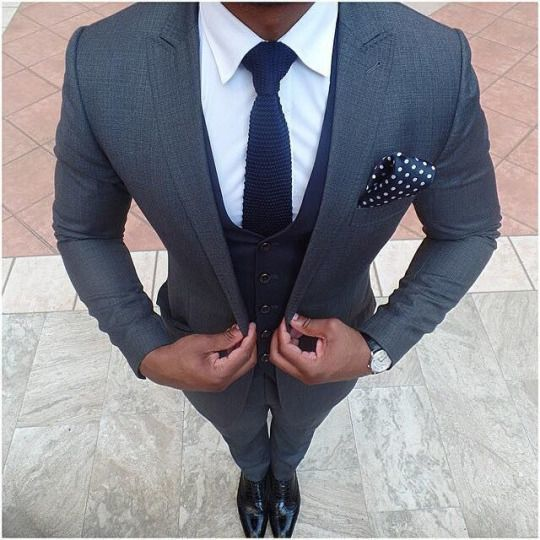 Men's Charcoal Suit, Navy Waistcoat, White Dress Shirt, Black ...