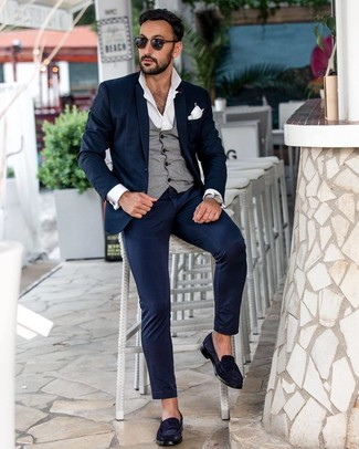 How to wear: navy suit, grey waistcoat, white long sleeve shirt, navy suede loafers