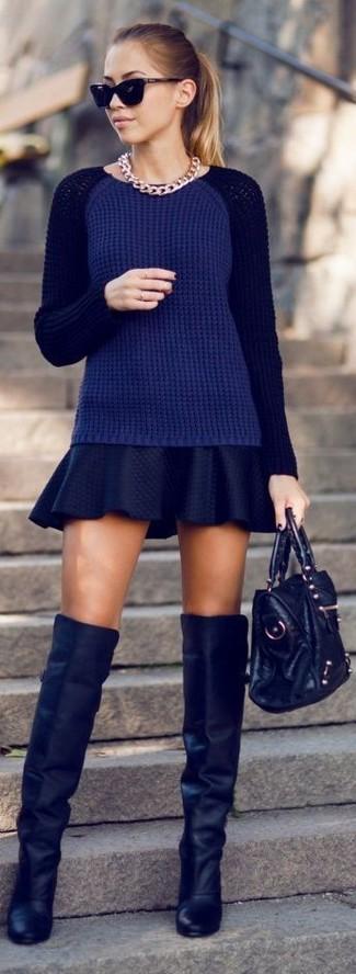 Sweater Over Skater Dress 86