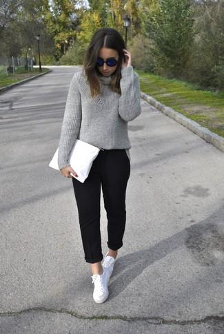 Women's Navy Sunglasses, Grey Knit Turtleneck, White ...