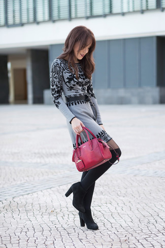 Women's Grey Print Sweater Dress, Black Suede Ankle Boots, Black Knee High Socks, Red Leather Tote Bag
