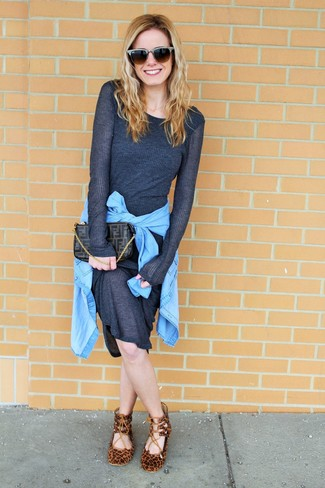 How to wear: charcoal sweater dress, light blue denim shirt, brown leopard suede ballerina shoes, dark brown print leather clutch