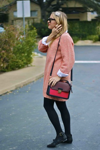 How to wear: pink sweater dress, white dress shirt, black nubuck ballerina shoes, burgundy leather satchel bag