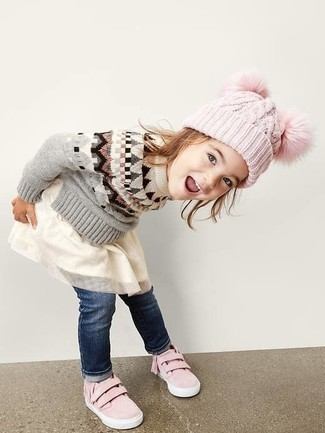 How to wear: grey sweater, white tulle dress, navy jeans, pink sneakers