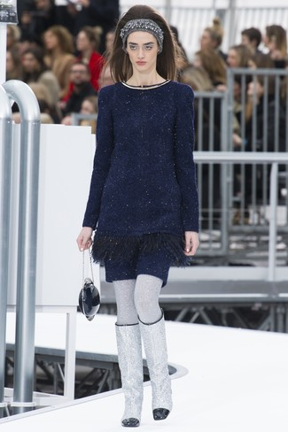 How to wear: navy sweater dress, silver leather knee high boots, navy clutch, grey knit headband