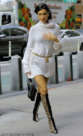How to wear: white sweater dress, black suede knee high boots, black leather clutch, gold belt