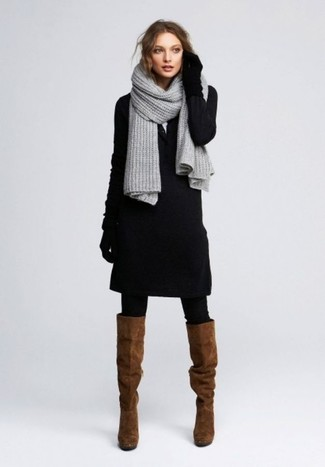 How to wear: black sweater dress, brown suede knee high boots, black wool gloves, grey knit scarf