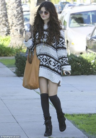 Selena Gomez wearing White Print Sweater Dress, Black Suede Lace-up Ankle Boots, Black Knee High Socks, Tan Leather Tote Bag